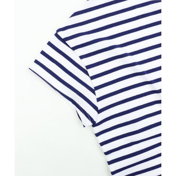 ORCIVAL オーチバル・オーシバル コットン天竺 ボーダー 半袖 ボートネック Tシャツ ワイドカットソー RC-6829 1(S/M) BLACK/WHITE PIN(BKWHP)