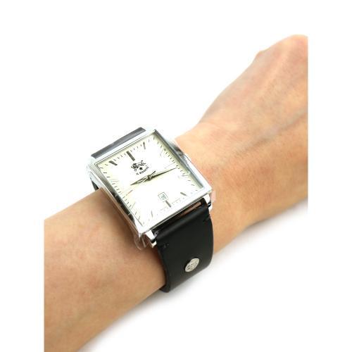 イルビゾンテ IL BISONTE レザー プレーンベルト スクエアフェイス クォーツ式 腕時計 リストウォッチ・5442404697 F(フリー) エクリュ×ヌメ(90-20)