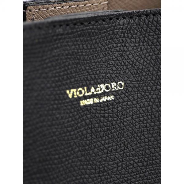 VIOLAd'ORO ヴィオラドーロ レザー 2WAY ミニ トートバッグ ショルダーバッグ V-1114 F(フリー) ブラック×トープ(BKTA)