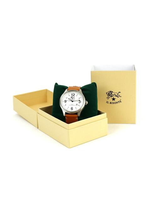 IL BISONTE イルビゾンテレザー 型押しレザー カレンダー付き クォーツ式 腕時計 リストウォッチ(L) 5422310597-A F(フリー) ブラック×ブラック(99-35)