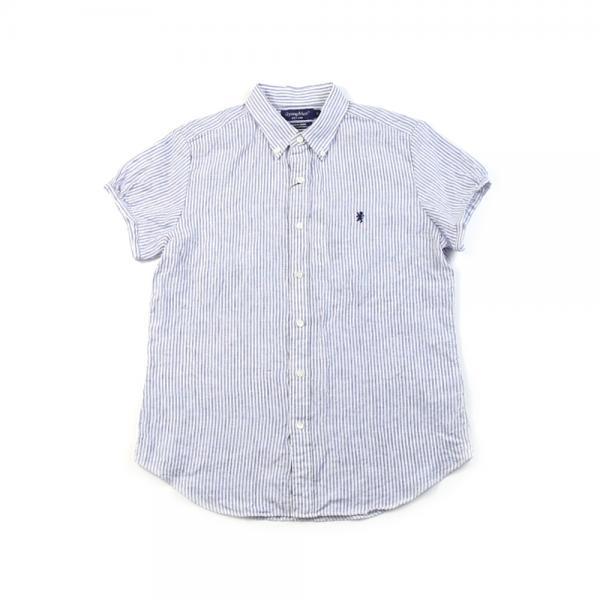 Gymphlex ジムフレックス リネン パフスリーブ 半袖 ボタンダウンシャツ J-0645LNP 12(S) BLUE STRIPE(BLST)