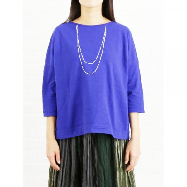 grin グリン コットン マナプール ネックレス刺繍 ワイド Tシャツ カットソー 8174C-038 2(M) ブルー(450)