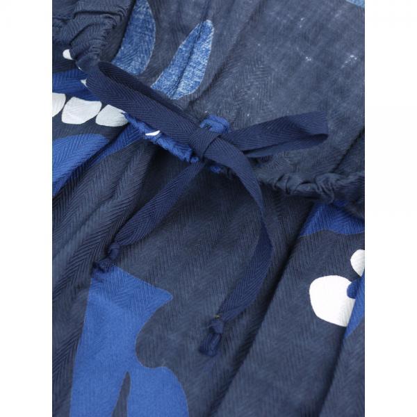 NATURAL LAUNDRY ナチュラルランドリー コットン ツリープリント ドロー ギャザー ロングスカート 7174S-006 2(M) ネイビー(484)