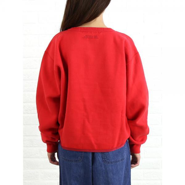 kha:ki カーキ コットン混 裏起毛 プリント ワイド スウェット プルオーバー MIL-17FCS99A 1(S/M) RED(RED)