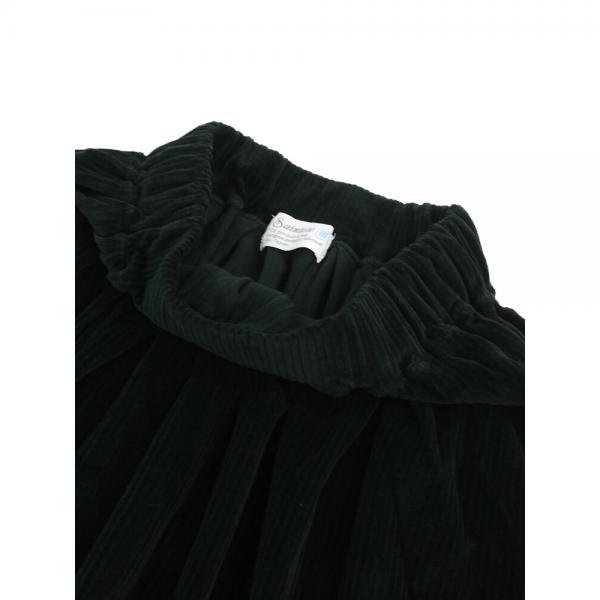 Saintete サンテテ コットンコーデュロイ  フレア ロングスカート BS104 F(フリー) ブラック(BLK)