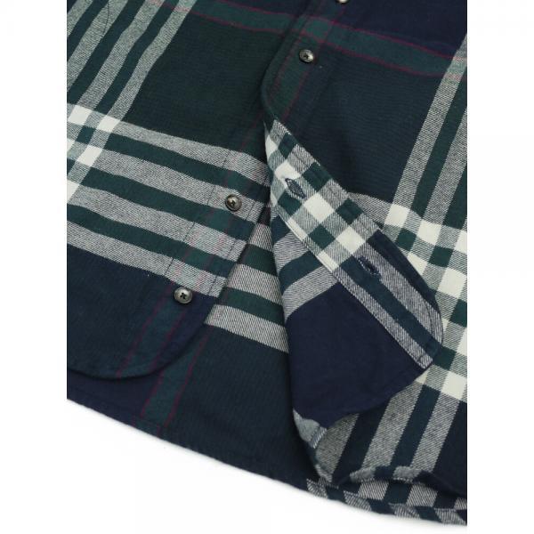 DANA FANEUIL ダナファヌル コットン ワンピースカラー チェック 長袖 ロングシャツ チュニック D-6317308 2(M) グレー(15)