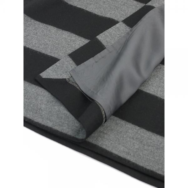 SACRA サクラ ウール ファインミルド ワイドボーダー ラップ スカート 117663122 38(M) チャコール(980)