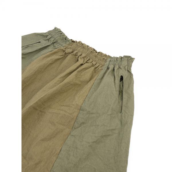 7th GATE セブンスゲート コットンナイロン バイカラー スカート G-208003 F(フリー) ダークグリーン×グリーン(DGGN)