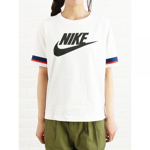 NIKE ナイキ コットン ロゴプリント 半袖 ウィメンズパックTシャツ カットソー 893328 M(M) セイル/セコイア(133)