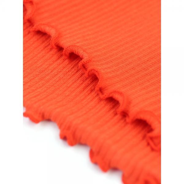 Allumer アリュメール コットン混 ランダムリブ 2WAY 半袖 フリル カットソー プルオーバー 8241110 1(S/M) オレンジ(330)