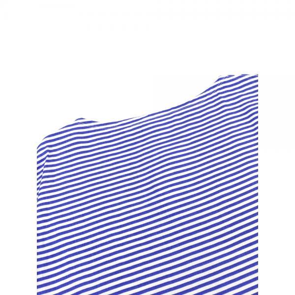 ORCIVAL オーチバル・オーシバル リネンクロス プリントボーダー ボートネック 半袖 ワイド シャツプルオーバー ブラウス RC-3648YLR 1(S/M) WHITE×BLUE(WHBL)