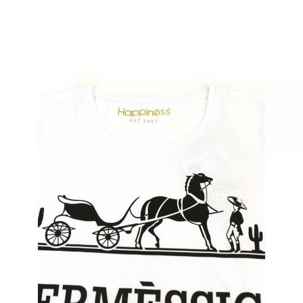Happiness ハピネス コットン Hermessicoプリント クルーネック 半袖 Tシャツ カットソー H181013 M(M) ホワイト(WHT)