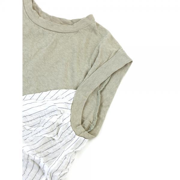 kanade カナデ コットン ムラ糸×ストライプ シャーリング ノースリーブ カットソー プルオーバー 628010 1(S/M) ホワイト(09)