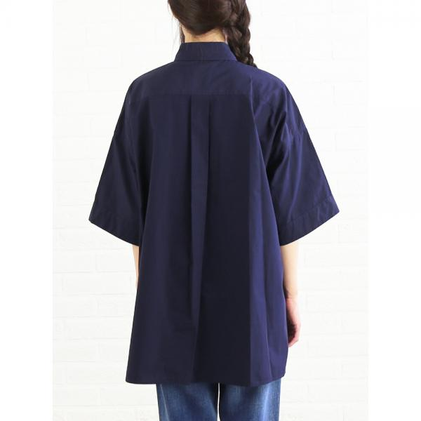 DANTON ダントン コットンポプリン 7分袖 ワイド ビッグシャツ チュニック JD-3654MSA 36(S/M) NAVY(NVY)
