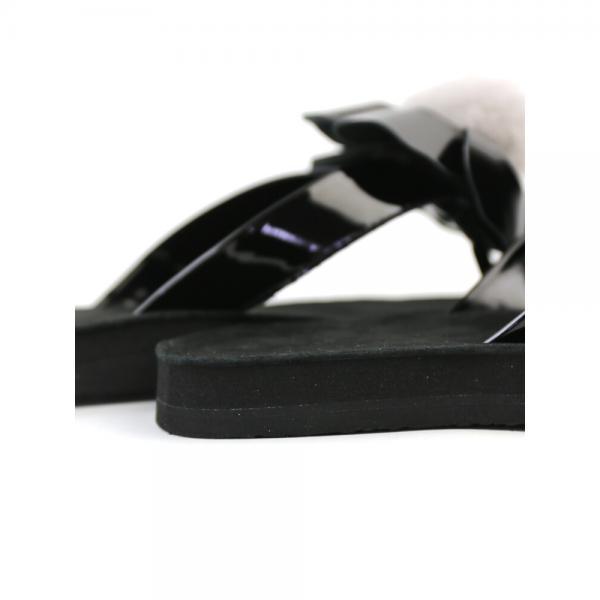 UGG アグ フェイクパテントレザー×シープファー フラワー トングサンダル W POPPY 1090489 6(23.0cm) ブラック(BLK)