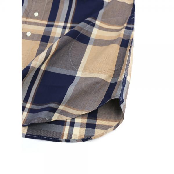 DANA FANEUIL ダナファヌル コットン ワンピースカラー チェック柄 長袖 ロングシャツ チュニック D-6318201 2(M) ネイビー×ボルドー(27)