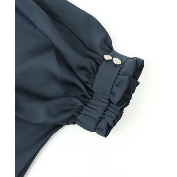 ara・ara アラ・アラ  ネックギャザー 7分袖 ドルマン プルオーバー ブラウス 182022 2(M) ブラウン(018)