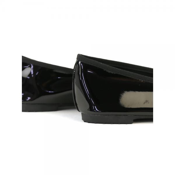 atelier brugge アトリエブルージュ フェイクパテントレザー ケース付き レインバレエシューズ RL-004 L(24.0cm) ブラック(BLK)