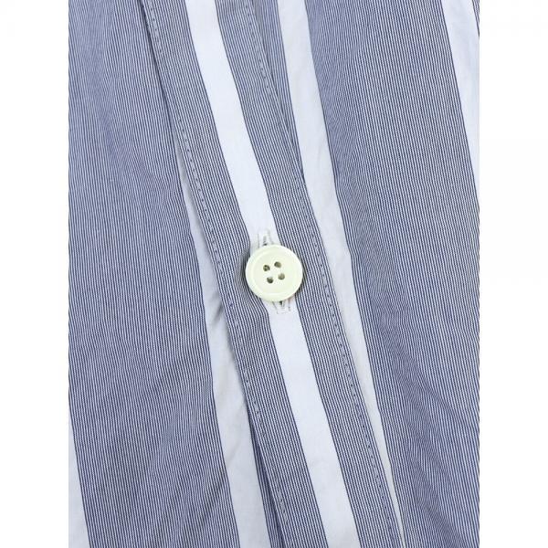 Midi-Umi ミディウミ コットン ストライプ シャツフロント ロング フレアスカート 2-760022 F(フリー) ホワイト×ブルー(31)