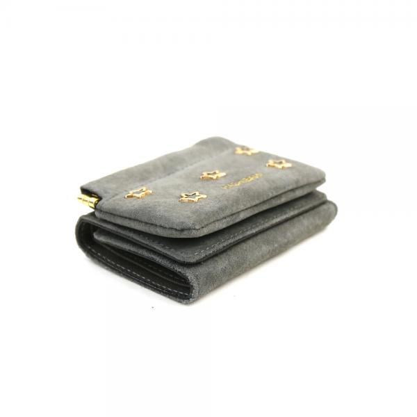 Hashibami ハシバミ ピッグスエード メタルスター バネ口 ミニウォレット 財布 HA-1711-475 F(フリー) グレーベージュ(GBEG)