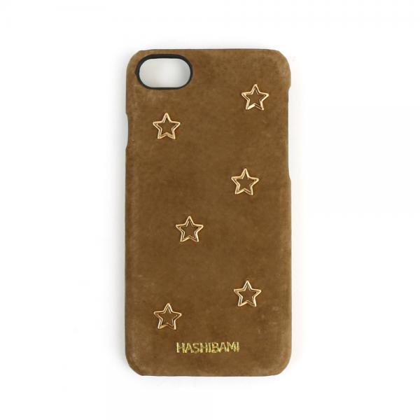 Hashibami ハシバミ ピッグスエード メタルスター iPhone8/7 iPhoneケース スマホケース HA-1711-476 F(フリー) グレーベージュ(GBEG)
