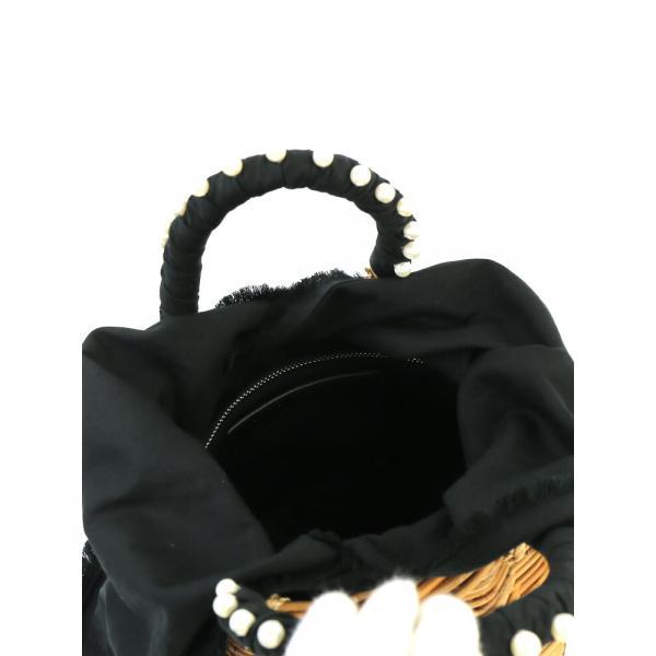 VIOLAd'ORO ヴィオラドーロ アラログ×レザー ハンドルパール使い かごバッグ バスケットバッグ V-8192 F(フリー) ナチュラル(NAT)