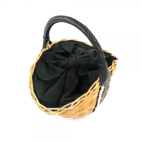 VIOLAd'ORO ヴィオラドーロ アラログ×レザー パール使い かごバッグ バスケットバッグ V-8193 F(フリー) ナチュラル×ブラック(NABK)