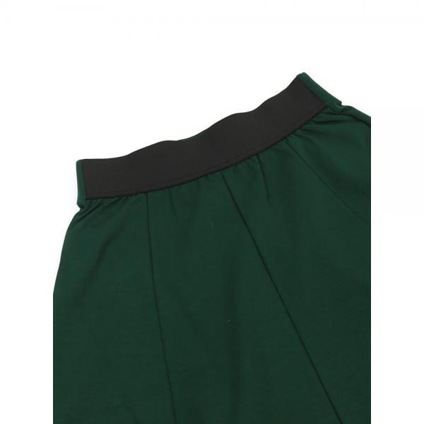 PUPULA ププラ スピーマコットンポンチ アシンメトリー ロング フレアスカート 184165 38(M) グリーン(60)