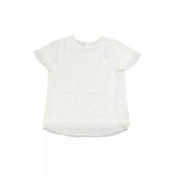 PUPULA ププラ レース×シフォン レイヤード風 半袖 プルオーバー 184158 38(M) ホワイト(01)