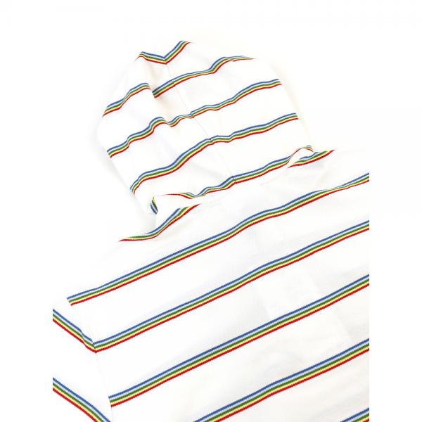 LACOSTE ラコステ コットンピケ ボーダー 半袖 フーデッド ポロシャツ プルオーバーパーカー STRIPED PIQUE PF3075L 36(M) ホワイト(2CQ)