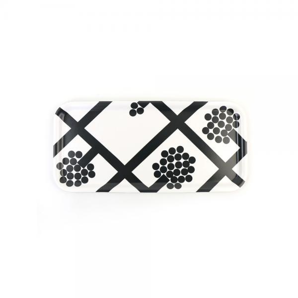 marimekko マリメッコ  スパルイェ柄 トレイ トレー プレート SPALJE PW TRAY 15×32cm 52179468296 F(フリー) ホワイト×ダークグレー(98)