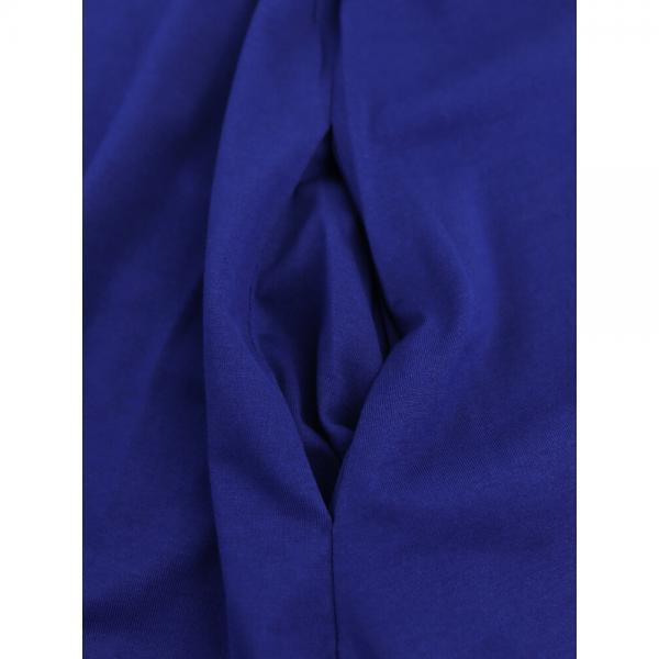 mizuiro ind ミズイロインド コットン Vネック タック ロングワンピース 2-257568 F(フリー) ブルー(31)