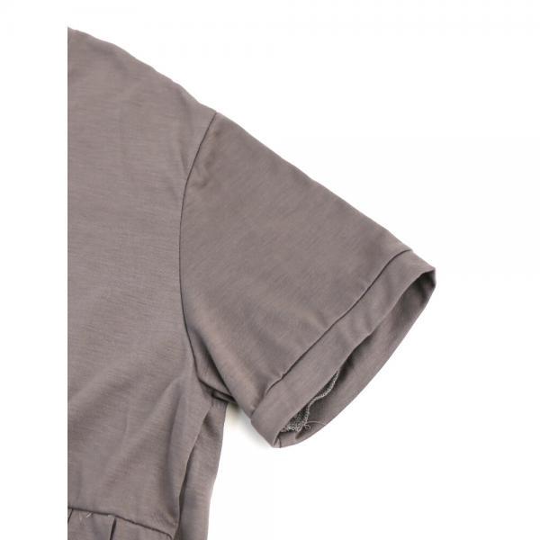 mizuiro ind ミズイロインド レーヨン混 半袖 プリーツ ロング ワンピース 2-257511 F(フリー) グレー(91)