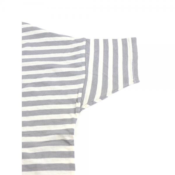 Saintete サンテテ コットン ボーダー クルーネック ワイド ビッグTシャツ カットソー MRB103 F(フリー) シトロン×エクリュ(CIEC)