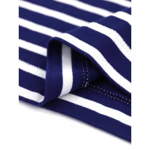 TRAVAIL MANUEL トラヴァイユマニュアル コットンクラシック天竺 ボーダー フレンチスリーブ Tシャツ カットソー 281035 F(フリー) ブルー×ホワイト(BLWH)