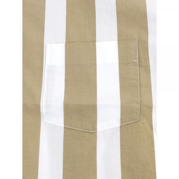 GRANDMA MAMA DAUGHTER by KATO' グランマ・ママ・ドーター コットン 半袖 ストライプ ワイドシャツ GS821971 1(S/M) ベージュ(BEG)