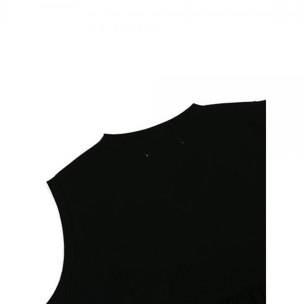 GRANDMA MAMA DAUGHTER by KATO' グランマ・ママ・ドーター コットン Vネック ノースリーブ ギャザー カットソー プルオーバー GC823601 1(S/M) ブラック(BLK)