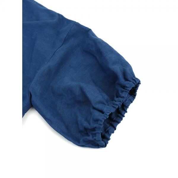 GRANDMA MAMA DAUGHTER by KATO' グランマ・ママ・ドーター リネンレーヨン Vネック パフスリーブ ワンピース GE821501 1(M) ブルー(BLU)