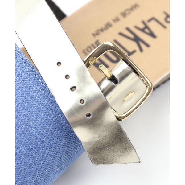 PLAKTON プラクトン  デニム 2ストラップ フラットサンダル 575404 36(23.0cm) デニム/シルバー(DESV)