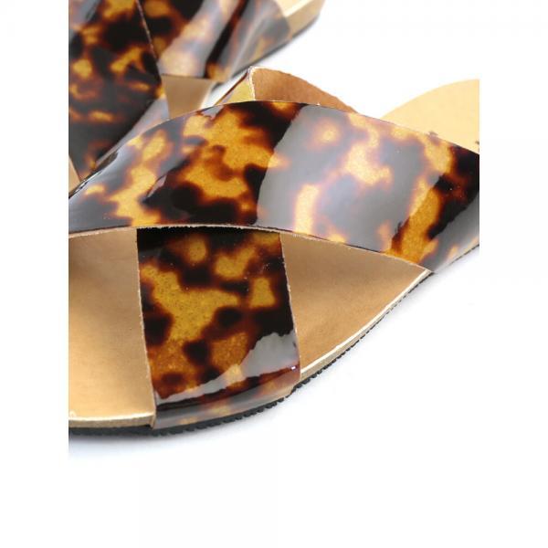 PLAKTON プラクトン べっ甲 クロスストラップ フラットサンダル 575038VC 36(23.0cm) べっ甲(CAR)