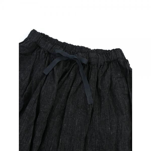 Veritecoeur ヴェリテクール リネンシャンブレー  イージー ワイドパンツ バルーンパンツ VC-1753 F(フリー) ブラック(BLK)
