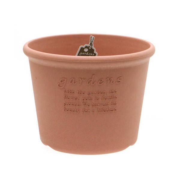 ガーデンズエコポット 丸 浅型 8号 素焼き調 ベランダガーデニング 室内園芸