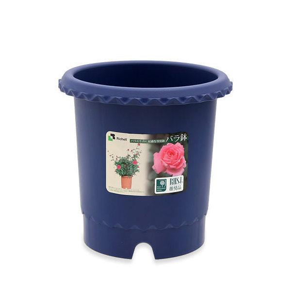 リッチェル バラ鉢 ブルー 8号 φ24×24cm バラ用 イングリッシュローズ フレンチローズ 通気性 排水性 上げ底