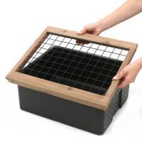 発泡スチロール箱 本体(黒)とフタ(白)と木枠(ネット付)セット 木枠 フタ セット お一人様1点限り