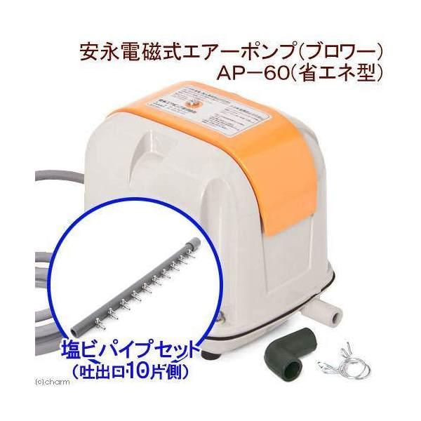 安永電磁式エアーポンプ(ブロワー) AP-60F(省エネ型)+塩ビパイプ 一方コック付き 吐出口10 片側キャップ付き 沖縄別途送料