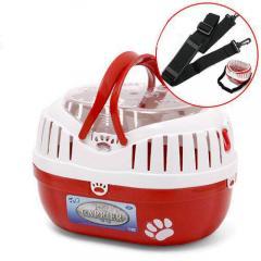 ミニプチキャリー+ショルダーベルトセット レッド 子犬 子猫 小動物 キャリーバッグ キャリーケース