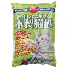 猫砂 お一人様1点限り 常陸化工 ひのき入 トイレに流せる木製猫砂 6L 6袋