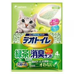 デオトイレ 飛び散らない緑茶・消臭サンド 4L 3袋入り 猫砂 紙 燃やせる お一人様3点限り