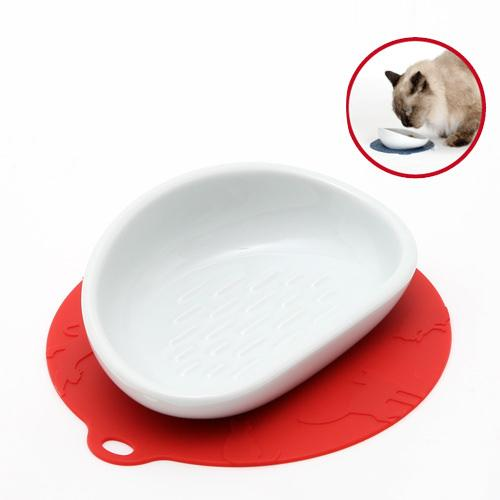猫 食器 ハリオ にゃんプレ レッド ロングヘア 長毛種 食器