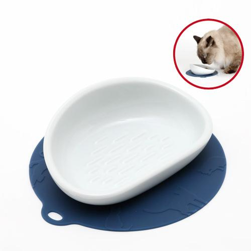 猫 食器 ハリオ にゃんプレ ダークブルー ロングヘア 長毛種 食器